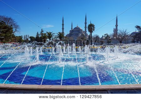fountain on sultanahmet area in day time