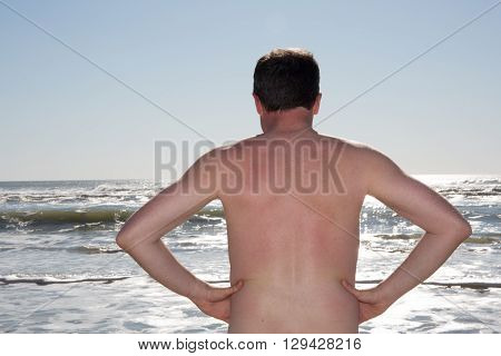 Man Nudist Alone On The Beach Vacation
