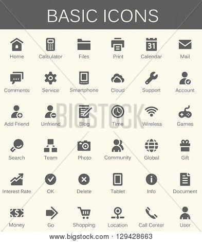 Basic web icons. Modern vector pictogram