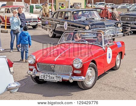 Moscow Russia - April 24 2016: Retro cars rally named after Ingosstrakh Exclusive Classic Day. MG Midget car.