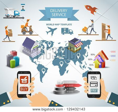 Logistic chain shipping freight service supply delivery infographics set with charts and world map. vector eps10