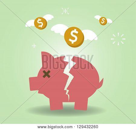 Broken Piggy Bank concept for financial crisis or economic depression. Vector illustration EPS10