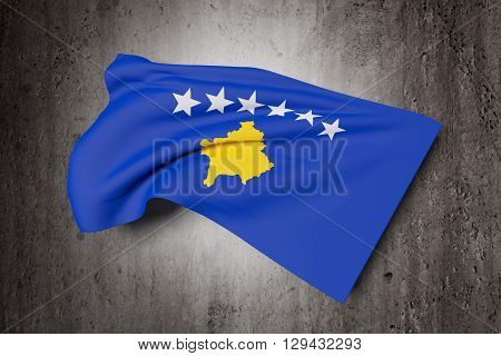 3d rendering of a close-up of Kosovo flag waving on a dirty background poster