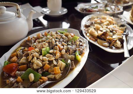Fresh asian dish - chop suey close up.