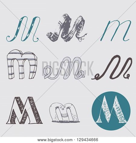 Original letters M set isolated on light gray background. Alphabet symbols editable hand drawn creative in different variations Italic 3d freehand drawn with brush and nib vector Illustration