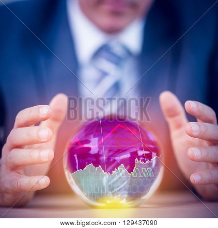 Stocks and shares against businessman forecasting a crystal ball