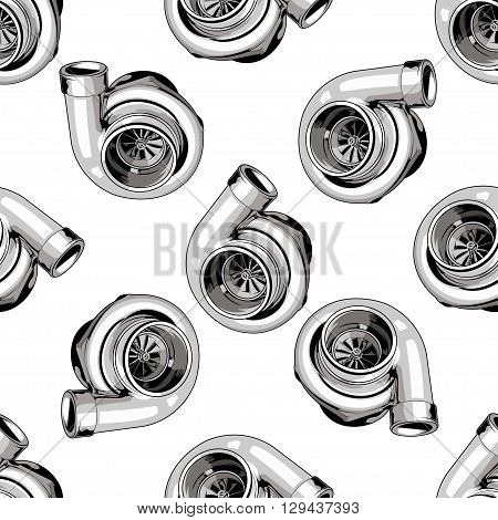 Seamless pattern with turbine on white background. For tuning car, drift, racing. Vector EPS10. poster
