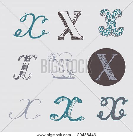 Original letters X set isolated on light gray background. Alphabet symbols editable hand drawn creative in different variations Italic 3d freehand drawn with brush and nib vector Illustration