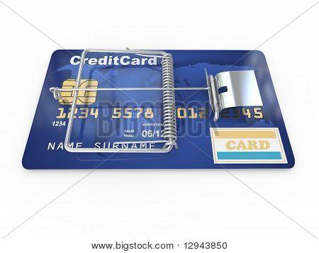 Credit Card As Mousetrap. Conceptual Image