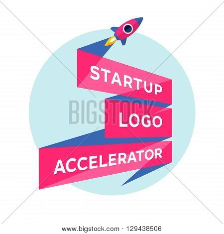 Logo for startup project with inscription Startup Logo Accelerator. Logo template with three line ribbon. Business concept and identity symbol. Startup graphic design concept. Vector Illustration