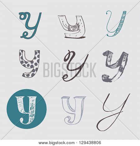 Original letters Y set isolated on light gray background. Alphabet symbols editable hand drawn creative in different variations Italic 3d freehand drawn with brush and nib vector Illustration