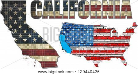 USA state of California on a brick wall - Illustration,