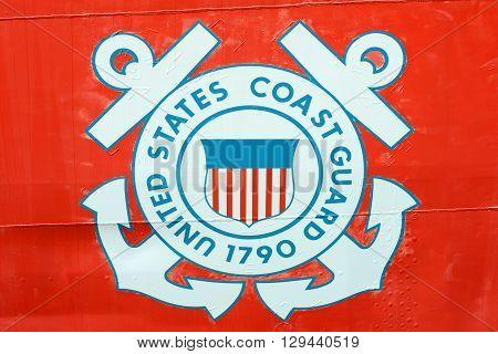 KEY WEST, FL, USA - DEC 20: United States Coast Guard Insignia on USCGC Ingham (WHEC-35) on Dec 20, 2012 in Key West, Florida, USA.
