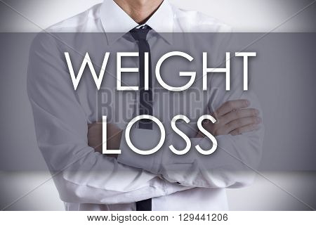 Weight Loss - Young Businessman With Text - Business Concept