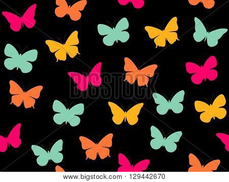 Butterfly Seamless Pattern. Seamless Pattern Of Butterflies. Multicolored Butterflies. Vector Illust