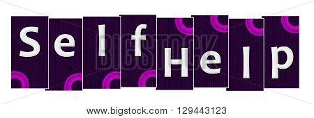 Self help text written over purple pink background.