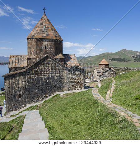 Medieval church on Sevan lake in Armenia
