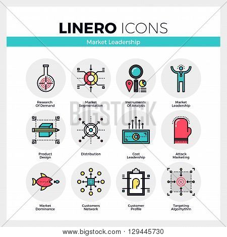 Market Leadership Linero Icons Set