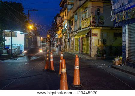 Rio De Janeiro, Brasil - March 06, 2016: Night In Terreirao, Favela Comunidade At Recreio Dos Bandei