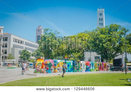 Rio De Janeiro, Brasil - March 06, 2016: Sign Letters City In Front Of The Museu Do Amanhã