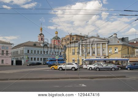 Russia, Moscow - May 11, 2016: View Of The Yauzskaya Street With Beautiful Architecture And A Part O