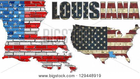 USA state of Louisiana on a brick wall - Illustration, The flag of the state of Louisiana on brick textured background,  Louisiana Flag painted on brick wall, Font with the United States flag,  Louisiana map on a brick wall