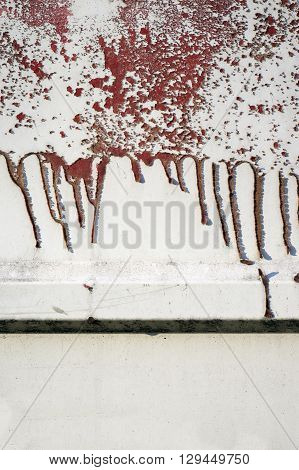 Old Dirty, Grunge,metal Fence With Runny Red Paint 10