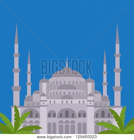 The Blue Mosque, Sultanahmet Camii, Istanbul, Turkey, middle east islamic architecture flat