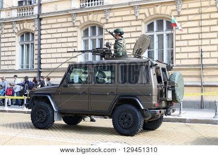 Sofia, Bulgaria - May 06: Day of Valor. Mercedes G 270 on military hardware parade. Back view. On May 06, 2016 in Sofia Bulgaria.