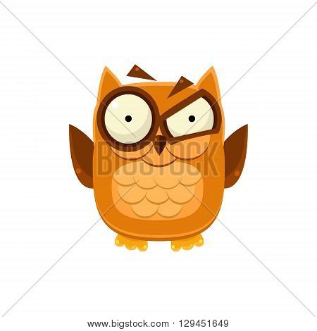 Outraged Brown Owl Adorable Emoji Flat Vector Caroon Style Isolated Icon