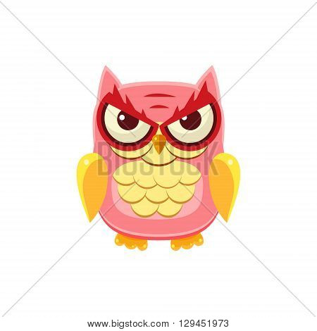 Mischievous Pink Owl Adorable Emoji Flat Vector Caroon Style Isolated Icon