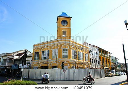PHUKET THAILAND - May 5: Old buildings on crossroad in Phuket Town Thailand on May 5 2016. China town in phuket town is one of the most hitorical Chinese communities in south east of Asia.