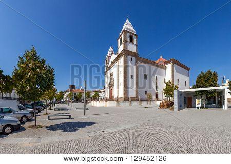 Castelo de Vide, Portugal - August 29, 2015: Santa Maria da Devesa church, the mother church of Castelo de Vide, Portalegre, Alto Alentejo, Portugal.