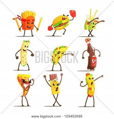 Fast Food Cartoon Characters  Flat Vector Design Cute Funny Childish Style Set Of Icons On White Background