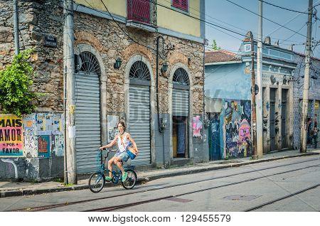 Rio De Janeiro, Rj, Brazil - March 07, 2016: Street Of Rio De Janeiro Along The Road Of Santa Teresa
