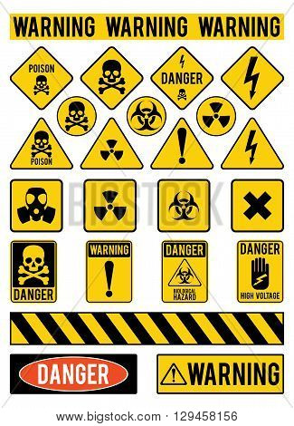 Set of warning signs about the dangers. Danger. Poisons. Warming. Vector illustration.