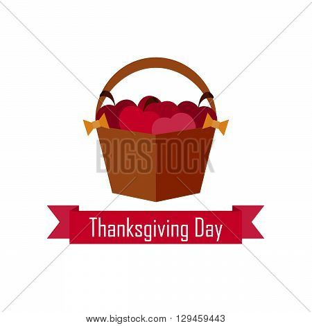 basket with red apples  on Thanksgiving Day  on the white background. vector. flat