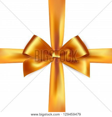 Shiny gold satin ribbon on white background. Vector gold  bow