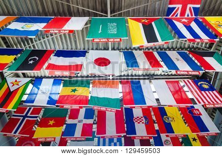 Rio De Janeiro, Brazil, March 07, 2016:  Flags In Rooftop Entrance Of Concovado Statue Of Christ In