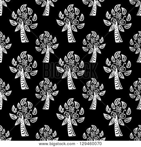 black seamless pattern with white  Apple trees. vector