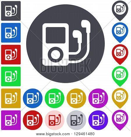 Color ipod icon, button, symbol set. Square, circle and pin versions.
