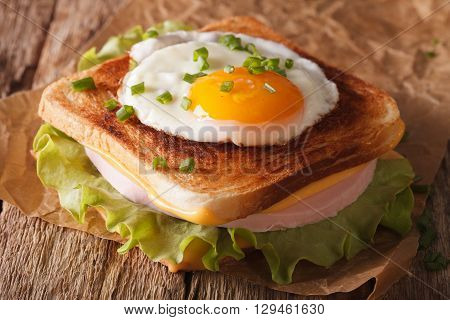 Croque Madame Sandwich On A Table Close-up. Horizontal