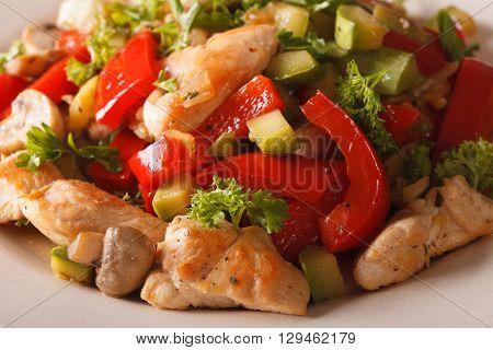 Chicken Saute With Mushrooms, Peppers And Zucchini Macro. Horizontal