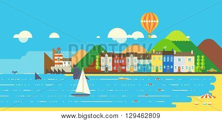 Mediterranean island. Tourist town on the island. Infographics - tourist island Mountain landscape. Ballooning. Ecological holidays. Seaport. Life on the ecological island.