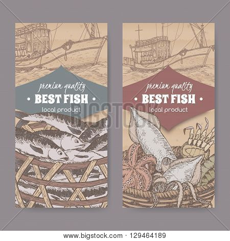 Set of two labels with modern fishing boat, fish and color seafood basket on cardboard background. Great for markets, fishing, fish processing, canned fish, seafood product label design.