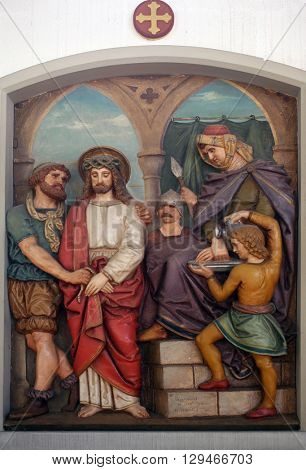 OBERSTAUFEN, GERMANY - OCTOBER 20: Jesus is condemned to death, 1st Stations of the Cross, the parish church of St. Peter and Paul in Oberstaufen, Germany on October 20, 2014.