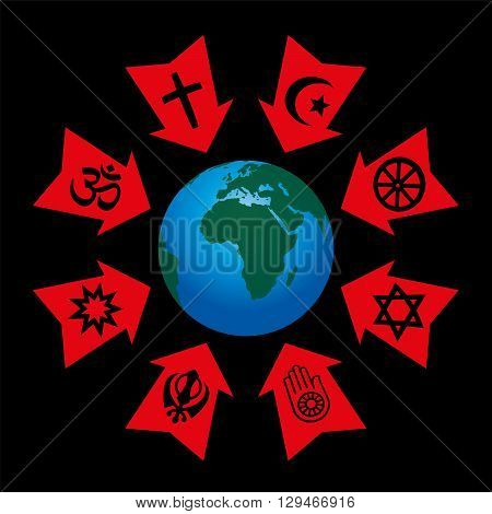 Religious control, manipulation and influence - arrows with symbols of world religions aggressive pointing at planet earth.