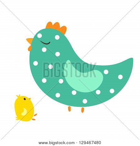 Vector illustration of cute hen and small chicken baby chicken and mother hen