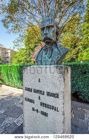 Vila Nova de Famalicao, Portugal. September 06, 2015: Camilo Castelo Branco, one of the most important Portuguese writers of the 19th century (Romantic). Vila Nova de Famalicao.