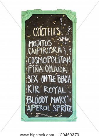 Cocktail sign board, isolated on white background